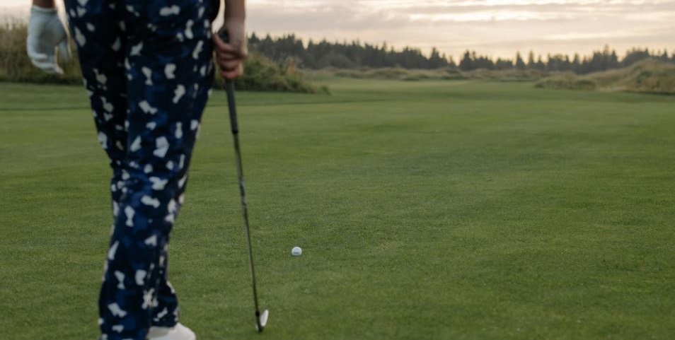 setting up for a golf swing